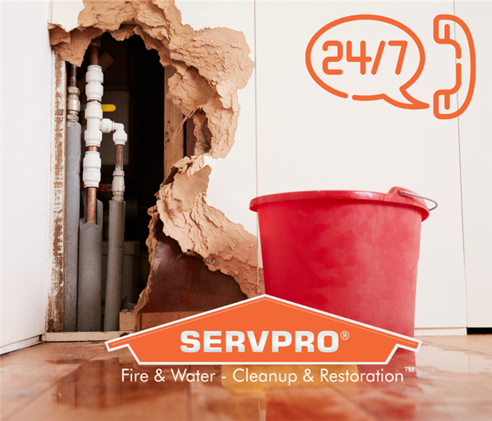 hole in wall with SERVPRO and 24/7 written on the graphic